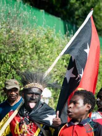Celebrating man on PNG independence day