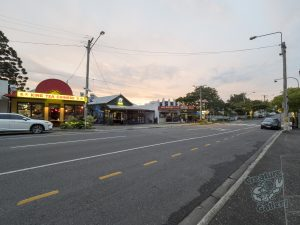 Nearly empty streets on a Saturday evening during pandemic lockdown